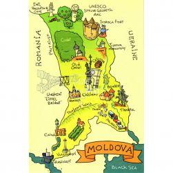 Postcard Map of Moldova